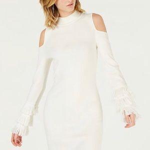 Cold-Shoulder Fringe Sweater Dress